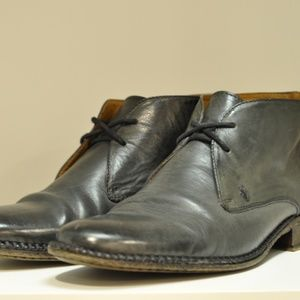 John Varvatos Distressed Black Leather Chukka Boot